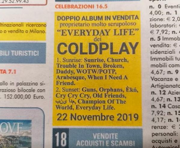 Coldplay usa un aviso de ocasión en periódico para anunciar nuevo disco