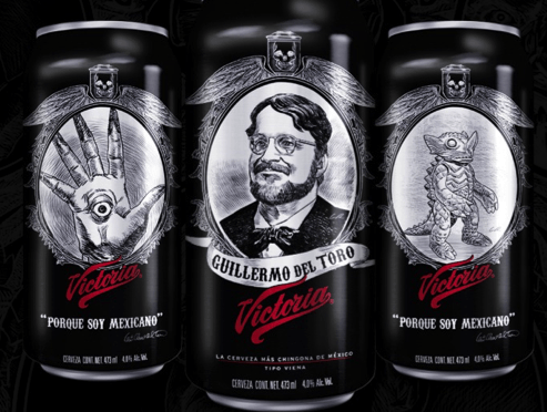 Tendremos cervezas Victoria con la cara de Guillermo del Toro