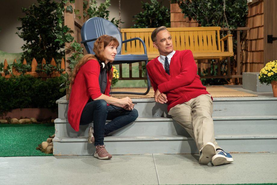 Tom Hanks y Marielle Heller en el set de Un Buen Día En El Vecindario